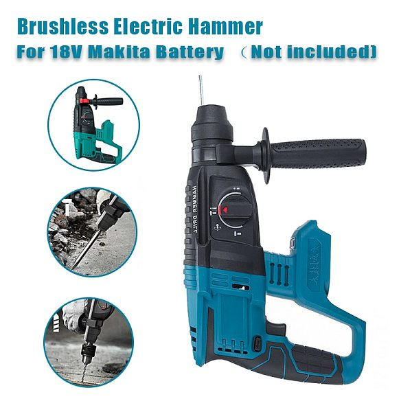 4 Functions Electric Brushless Cordless Rotary Hammer Drill Rechargeable Hammer 28mm Impact Drilll For 18V Makita Battery