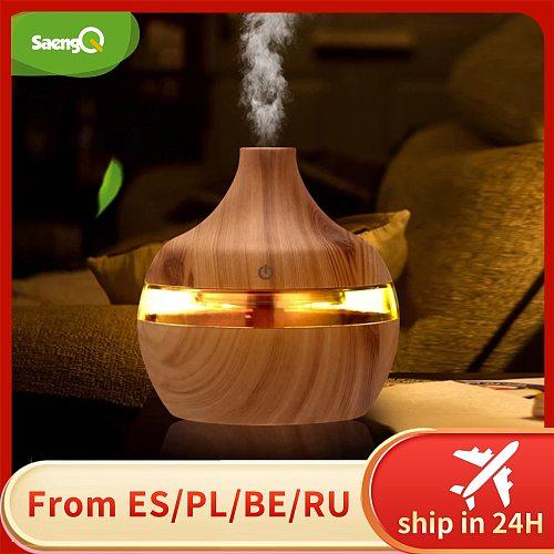 saengQ Electric Air Humidifier Essential Aroma Oil Diffuser Ultrasonic Wood Grain Humidifier USB Mini Mist Maker LED Light