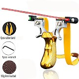 2020 New  Laser Aiming Slingshot High Precision  Hunting Catapult with Flat Rubber Band Outdoor Game Sling Shot Set