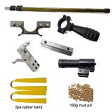 Upgraded Straight Rod Telescopic Folding High-Power Slingshot Stainless Steel Widened Catapult Head for Outdoor Shooting