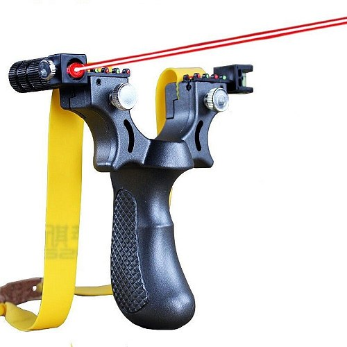 Infrared Aiming Slingshot with Flat Rubber Band Durable High Precision Aiming Slingshot for Outdoor Game, Hunting, Shooting Gift