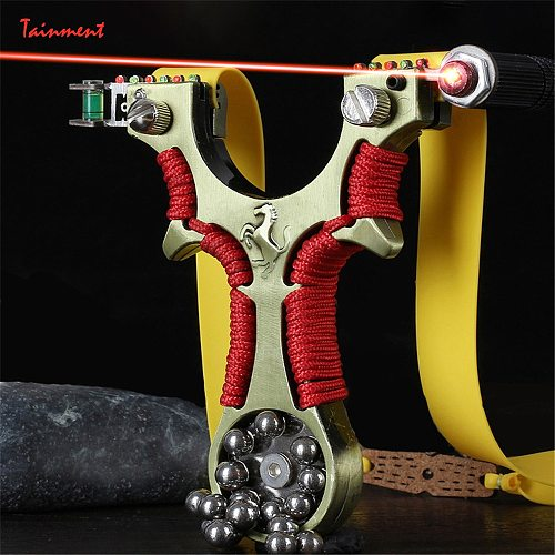 New Laser Slingshot Aiming Fast High Precision Infrared Slingshot + Flat Rubber Band and Steel Marbles for Outdoor Game, Hunting