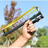 Straight Rod High Precision Telescopic High Power Red Laser Flat Rubber Band Stainless Steel Outdoor Hunting Catapult Slingshot