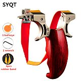 New Catapult Outdoor Hunting Power Slingshot  with Titanium Sight Flat Rubber Bands Slingshot Wood Handles  Stainless Steel
