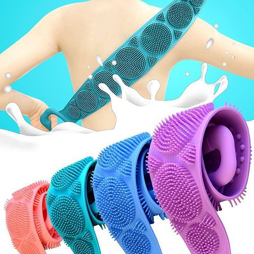 (Free shipping)Body Sponge Silicone Brushes Bath Towels Body Scrubber Rubbing Back Peeling Massage Shower Extended Scrubber Skin Clean Brushes