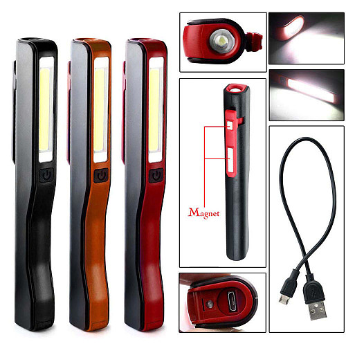 USB Rechargeable Portable COB LED Flashlight Rechargeable Magnetic Pen Clip Hand Torch Work Light Built-In Battery With Magnet