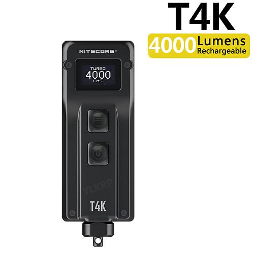 NITECORE T4K 4000 Lumens Portable Keychain Flashlight, 4 LEDs Super Bright Light, Built-in Battery Using USB-C Charging