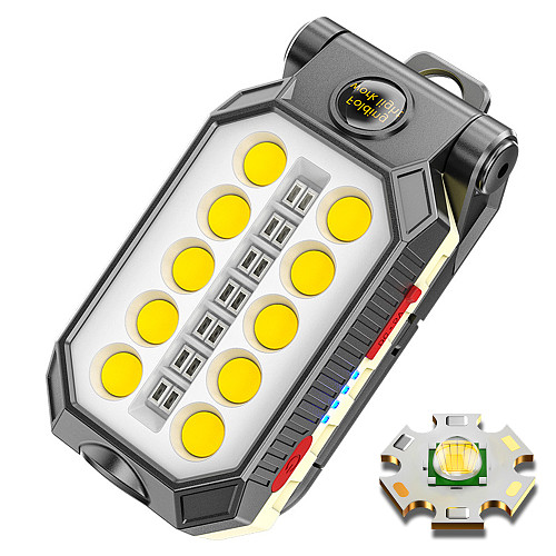 Portable COB Work Light USB Rechargeable LED Flashlight Adjustable Waterproof Camping Lantern Magnet Design with Power Display