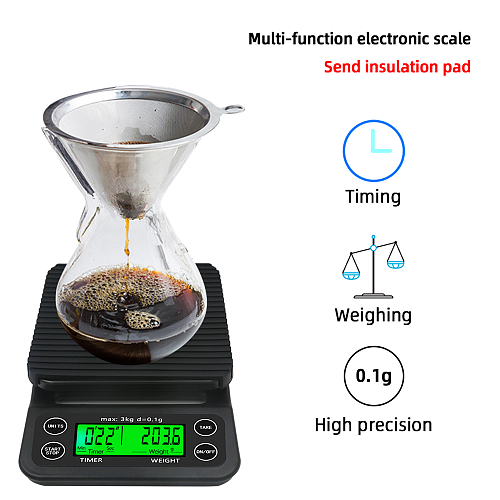 3kg/0.1g  5kg/0.1g Digital Coffee Scale with backlight  with Timer High Precision LCD Electronic Scales Weighing Tools 40% off