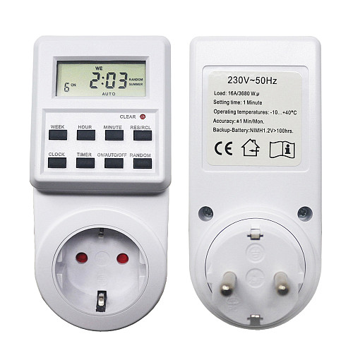 EU Plug Plug-in Timer Switch 230V 16A Weekly Programmable Timer Socket Digital Power Outlet LCD with Standard/Summer Time