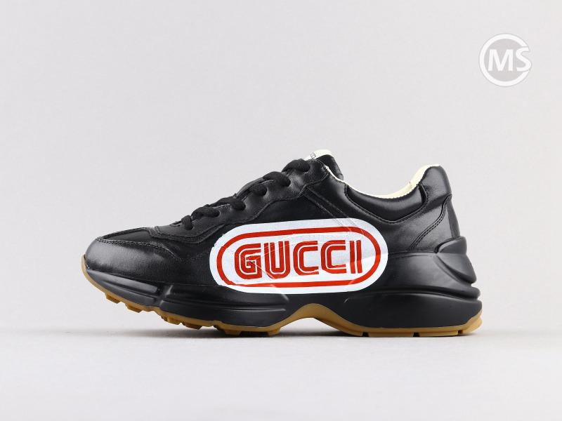 Gucci Rhyton Black Red logo Sneaker