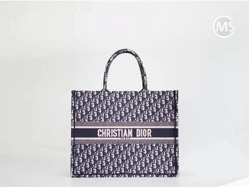 Dior Book Tote Blue Oblique Embroidery