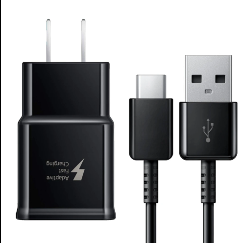 OEM SAMSUNG FAST CHARGING USB WALL CHARGER + USB TYPE-C CABLE-BLACK