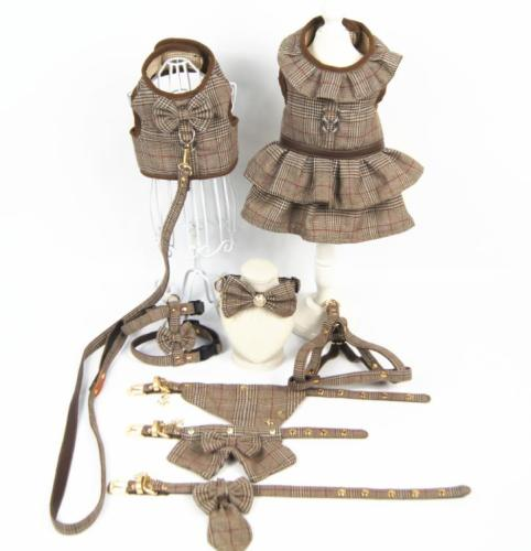 Wholesale  Dog England Style Dress ,Harness and Collar Set
