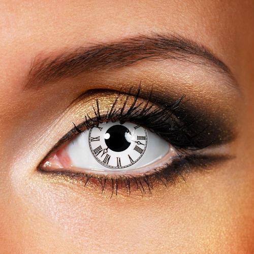 Roman Clock White Yearly Colored Contacts