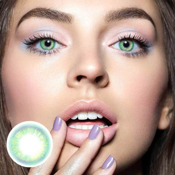 Rainbow Neon Green Yearly Colored Contacts