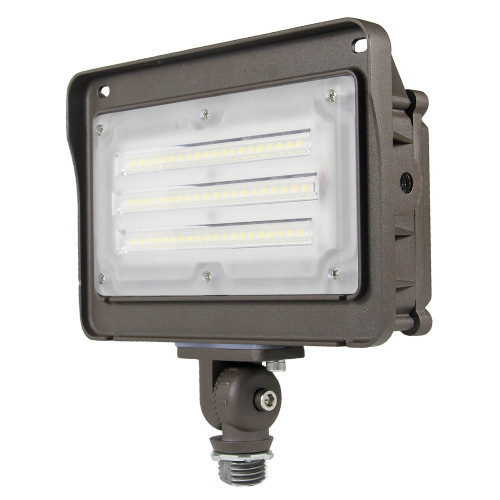 (FL-C2-D) LED Flood Light with Photocell 1/2 NTP Knucle 15W 30W 50W -130lm/w -100-277V -ETL cETL DLC