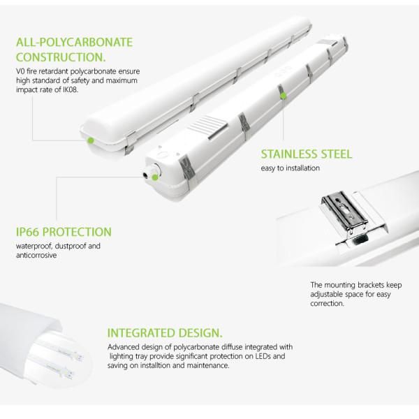 (VPA) LED Vapor Tight Fixture Tri-proof Light 2FT 20W -4FT 40W 50W -8FT 80W 100W-130lm/w or 150lm/w -100-277V or 120-347V -UL cUL ETL cETL DLC Premium