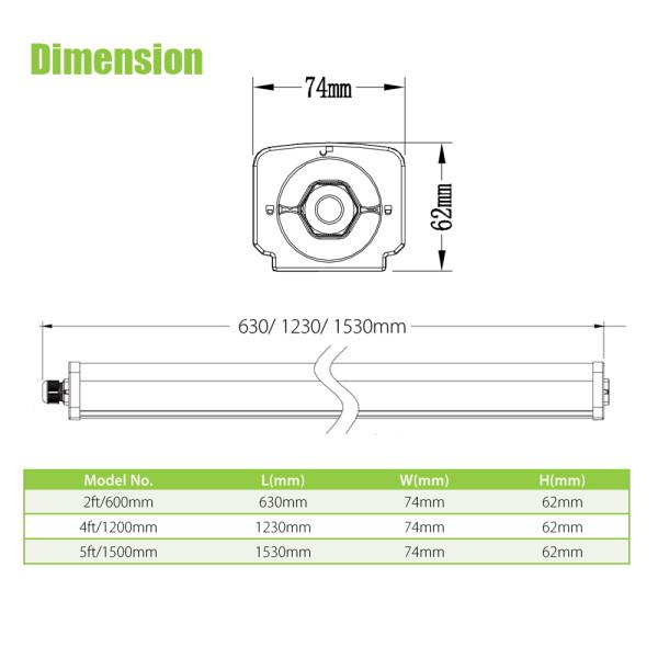 (TPB) Linkable LED Tri-proof Light Vapor Tight Fixture 2FT/600mm 20W -4FT/1200 40W -5FT/1500mm 60W -120lm/w -200-240V -CE, Rohs,CB,SAA