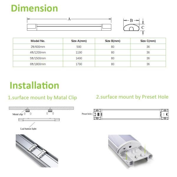 (LLE) LED Batten Light 600mm 20W -1200mm 40W -1500mm 60W -1800mm 72W -120lm/w -200-240V -CE, Rohs,CB,SAA