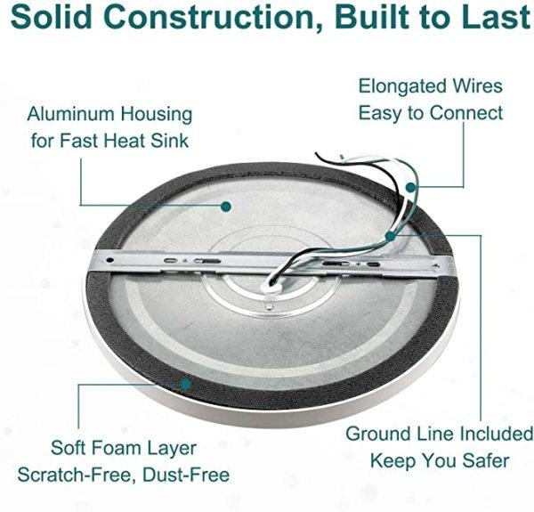 (FMA) LED Flush Mount Ceiling Light Slim 0.55 Inch 7'' 12W -9'' 18W -12'' 24W -120V Dimmable - ETL FCC Energy Star