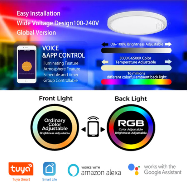 (CP-W2) Smart LED Flush Mount Ceiling Light (Front Lighting 3000K-6500K+ Back Light RGB ) -Control By WIFI APP & Vioce Contorl -Work with Amazon Alexa, Google Assistant -12'' 300mm 24W -16'' 400mm 28W -100-240V -ETL cETL CE Rhos