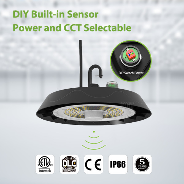 (HBS) Power & CCT Switchable UFO LED High Bay Light  80W 100w 120W 150W 200W 240W -140lm/w - 100-277V or 100-347V -1-10V Dim -Sensor -ETL DLC CE -5 Years Warranty