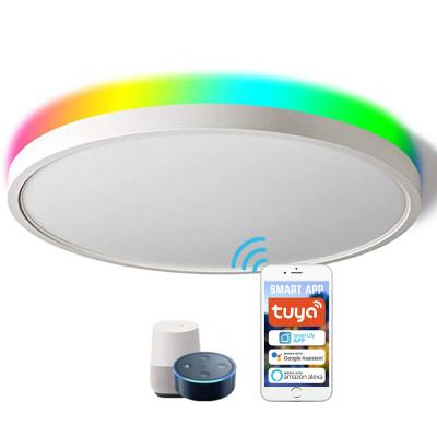 (CP-W2) Smart LED Flush Mount Ceiling Light (Front Lighting 3000K-6500K+ Back Light RGB ) -Control By WIFI APP & Vioce Contorl -Work with Amazon Alexa, Google Assistant -12'' 300mm 24W -16'' 400mm 28W -100-240V -ETL cETL CE Rhos