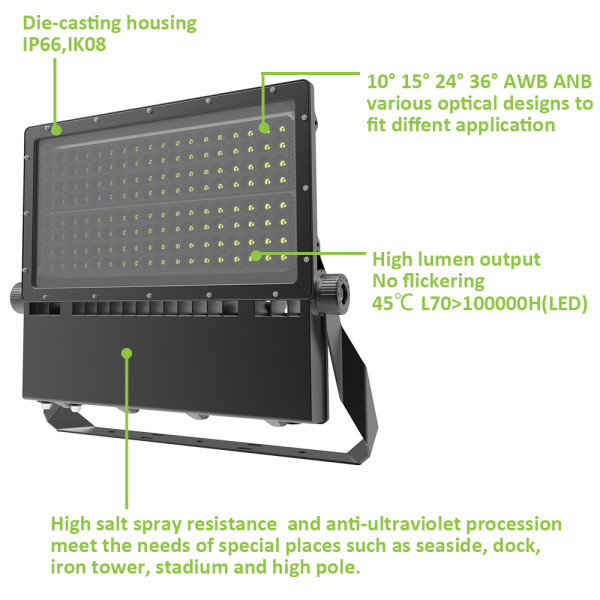 (FLA) Corrosion Resistance LED Area Light High Post Stadium Light 350W 500W 600W 140lm/w  CE CB RoHs