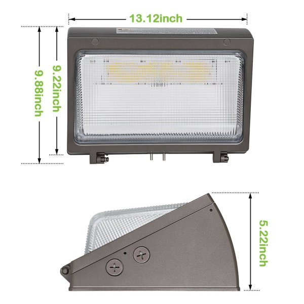 (WP-BG) Half Cut Off LED Wall Pack With Photocell -Glass Cover - 42W 60W 80W 100W 120W -130lm/w -100-277V or 100-347V -ETL cETL DLC Preimium