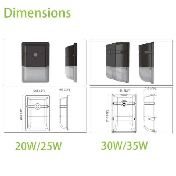 (WP-A3) 35W 30W 25W 20W LED Wall Mount With Photocell Dusk to Down -120lm/w -100-277V -ETL cETL DLC 5.1 Premium
