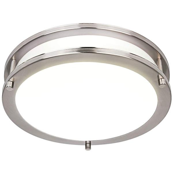 (FMB) Double Ring LED Flush Mount Ceiling Light Brushed Nickel Saturn Finish 10'' 15W -12'' 18W -14'' 24W -120V Dimmable - ETL FCC Energy Star