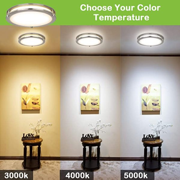 (FMB-W1) Smart LED Flush Mount Ceiling Light  -2700-6500K Adjustable and Dimmbale -Control by 2.4G Remote or WIFI APP & Vioce Contorl -Work with Amazon Alexa, Google Assistant 10'' -15W, 12'' -18W, 14'' -24W, 16'' -28W, 120V Dimmable - ETL cETL FCC Energy Star