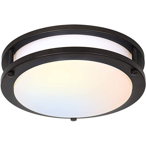(FMB) Double Ring LED Flush Mount Ceiling Light Oil Rubbed Bronze Finish 10'' 15W -12'' 18W -14'' 24W -120V Dimmable - ETL FCC Energy Star