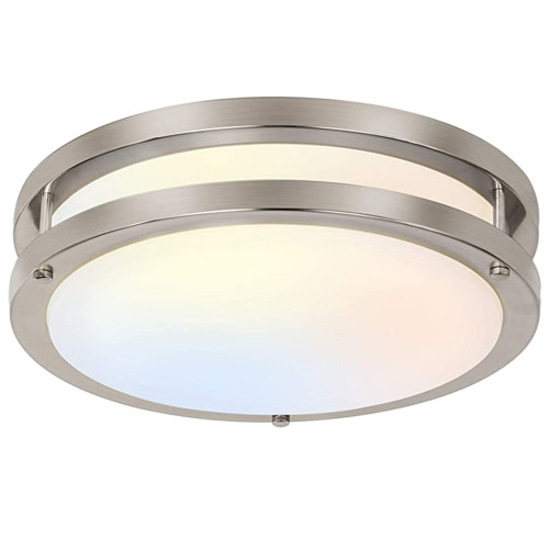 (FMB) Double Ring LED Flush Mount Ceiling Light Brushed Nickel Saturn Finish 10'' 15W -12'' 18W -14'' 24W -120V Dimmable - ETL FCC Energy Star