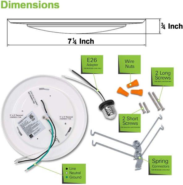 (DKA) High CRI 90Ra 5'' 6'' -11W Integrated LED DISC Downlight-1050lm -ETL cETL Energy Star