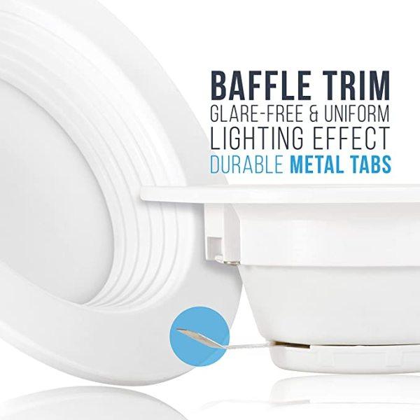 (DLA-06) High CRI 90Ra 5'' / 6'' -15W LED Recessed Downlight Can Retrofit - Baffle Trim -1200lm -ETL cETL Energy Star