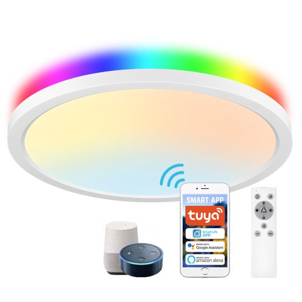 (CP-W2) Smart LED Flush Mount Ceiling Light (Main Light 2700K-6500K+ Mood Light RGB ) -Control By WIFI APP & Vioce Contorl -Work with Amazon Alexa, Google Assistant -12'' 300mm 24W -16'' 400mm 32W -100-240V -ETL cETL CE Rhos