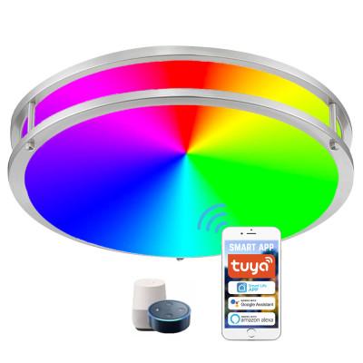 (FMB-W2) Smart Double Ring LED Flush Mount Ceiling Light  -2700-6500K+RGB Control by  WIFI APP & Vioce Contorl -Work with Amazon Alexa, Google Assistant 10'' -15W, 12'' -18W, 14'' -24W, 16'' -28W - ETL cETL FCC Energy Star