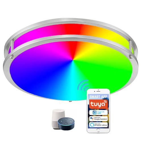 (FMB-W2) Smart Double Ring LED Flush Mount Ceiling Light -2700-6500K+RGB Control by WIFI APP & Vioce Contorl -Work with Amazon Alexa, Google Assistant 10'' -15W, 12'' -18W, 14'' -24W, 16'' -28W - ETL cETL FCC Energy Star