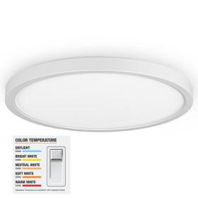 (CP-A) LUNA Series LED Flush Mount Ceiling Light Slim 0.94 Inch 9'' 18W -12'' 24W -16'' 36W -120V or 240V Dimmable - ETL FCC Energy Star CE Rhos