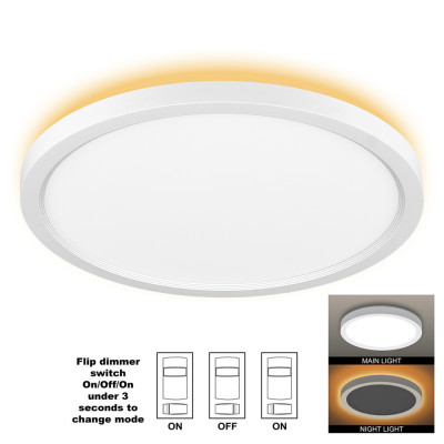 (CP-B) LUNA Series LED Flush Mount Ceiling Light with Night Light 12'' 24W+4W -16'' 32W+4W -120V or 240V Dimmable - ETL FCC Energy Star CE RoHs