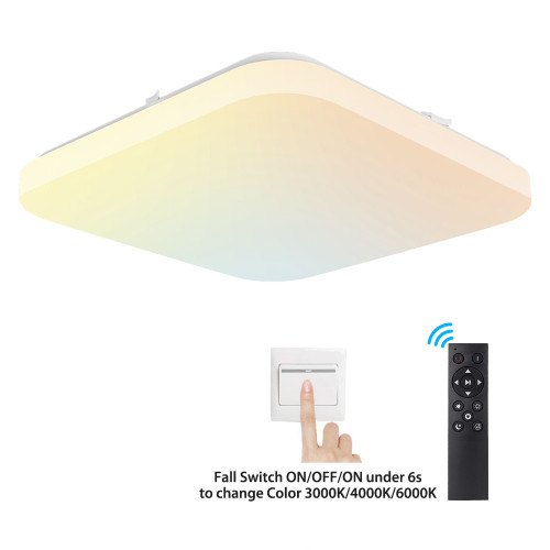 3000-6500K Adjustable by Remote Control /Switch LED Ceiling Light - 330x330mm 24W CE Rohs