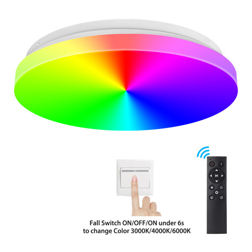 White and Color Ambiance by Remote Control /Switch LED Ceiling Light - 330mm 24W CE Rohs