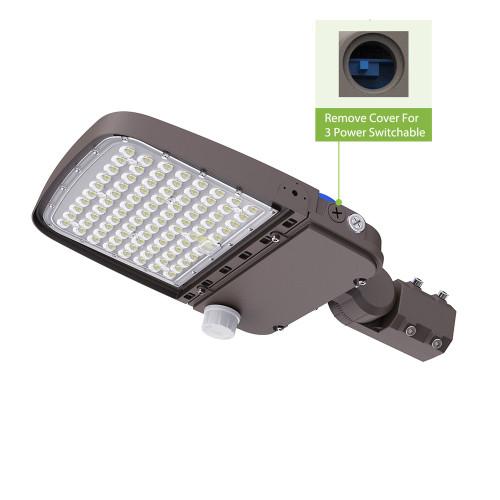 180lm/w 3-Power Switchable LED Parking Lot Light Shoebox Light With Photocell or Sensor 75W 100W 150W 200W 240W -140lm/w -100-277V /100-347V /277-480V -ETL cETL DLC 5.1 Premium