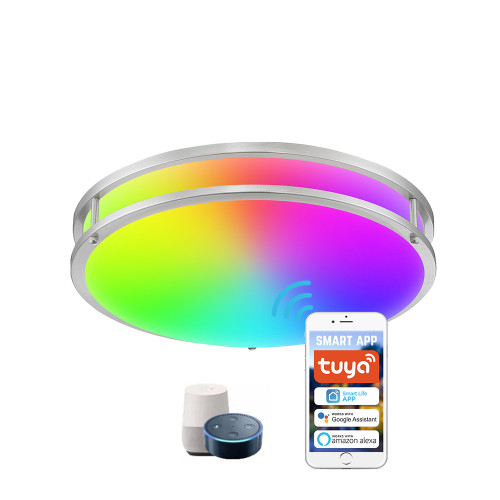 White and Color Ambiance WIFI Flush Mount Ceiling Light - APP / Vioce Contorl -Work with Amazon Alexa, Google Assistant - ETL cETL FCC Energy Star