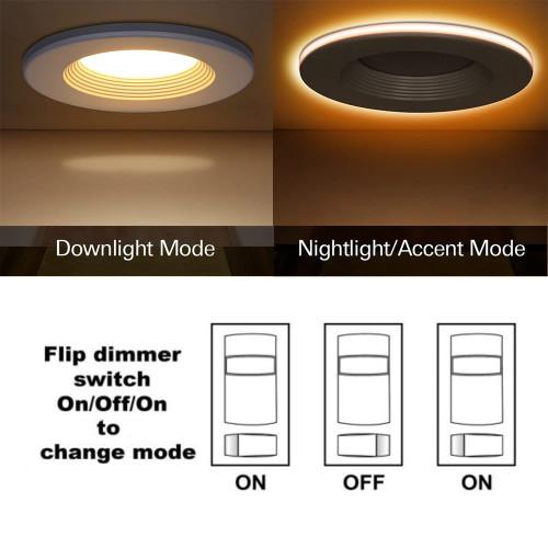 With 2000K Amber Night Light Recessed Downlight Can Retrofit - Baffle Trim -4 inch 11W 6 inch 15W -ETL cETL Energy Star