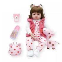 Boneca reborn, boneca de 47cm de silicone macio, boneca realista de corpo macio, menina, presentes de natal