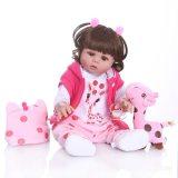 48/55CM CENTÍMETROS boneca bebe reborn boneca de vestido rosa da menina da criança de corpo inteiro realista silicone macio brinquedo do Banho do bebê à prova d' água