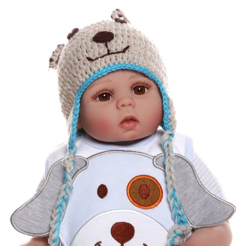 Npk 48cm bebê boneca reborn, bebê menina, boneca no vestido azul de corpo inteiro, silicone macio, realista, brinquedo de banho de bebê anatomicamente correto